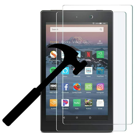 (2 Pack) 2018 Amazon Fire HD 8 Screen Protector, EpicGadget For 8th Generation Fire HD 8 inch tablet HD Clear Anti Bubble Anti Fingerprint Anti Scratch 9H Hardness Tempered Glass Screen