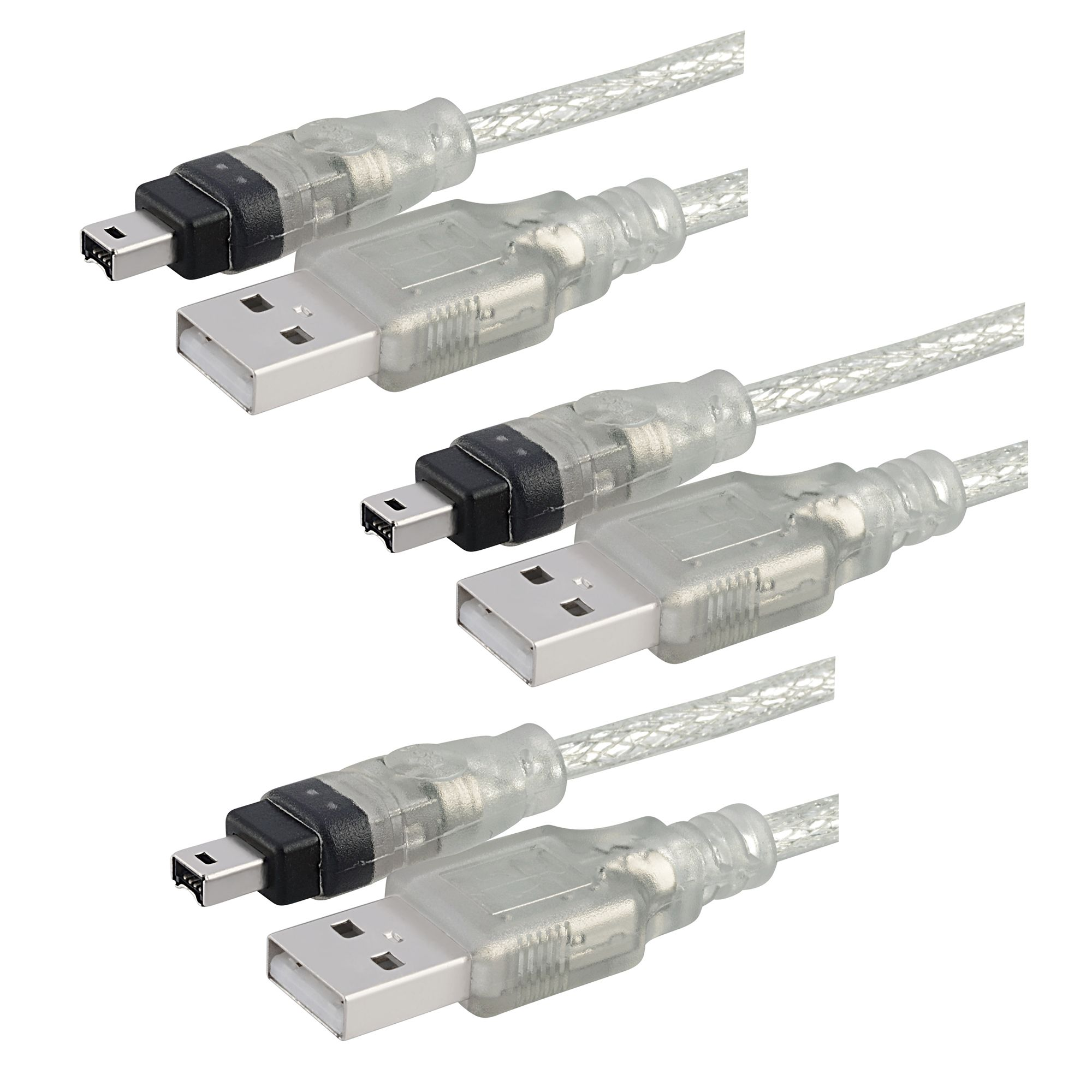 Insten 3 x 6ft 1.8m USB 2.0 to IEEE 1394 4pin FireWire DV Cable