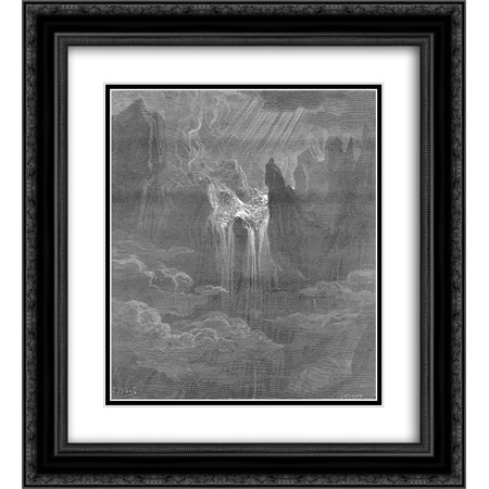 Black Rolling Frame (Gustave Dore 2x Matted 20x24 Black Ornate Framed Art Print 'Wave rolling after wave, where way they found If steep, with torrent)
