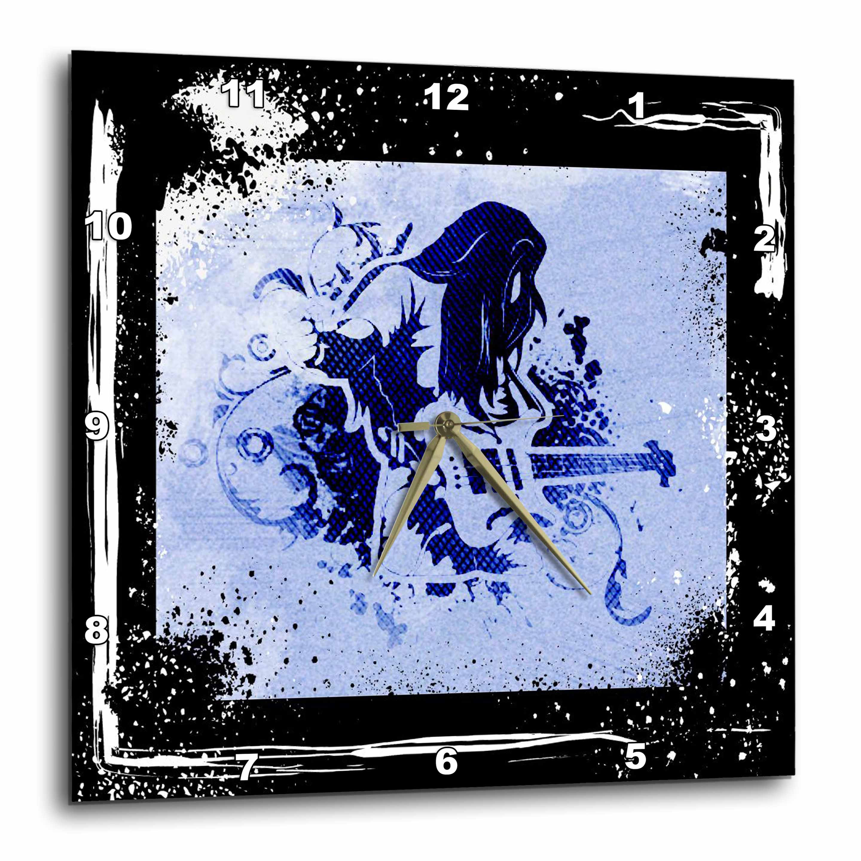 3dRose Rock and roll guitar player art with grunge frame and highlights, Wall Clock, 15 by 15-inch