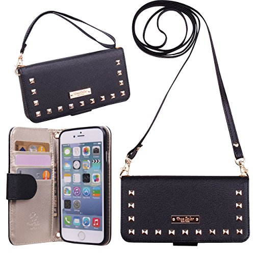 iPhone 6 6s Wallet Case, True Color© Premium Studded Wristlet with Removable Wrist Strap and Cross Body Strap Clutch Folio Magnetic Closure Purse Clubbing Case Cover + Stand Feature - Black