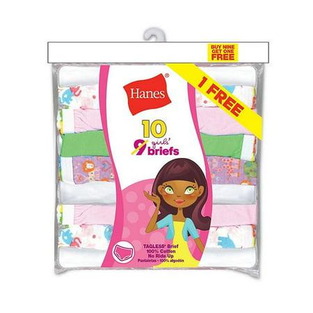 Hanes 075338598468 Girls ComfortSoft Briefs, Assorted Color - Size 4 - Pack of 10 - image 1 de 1
