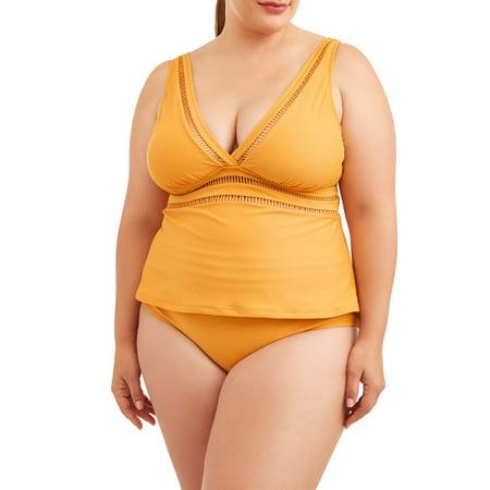 ae01ac21f9c53 Time and Tru - Women's Plus Size Ladder Trim Tankini Swimsuit Top -  Walmart.com