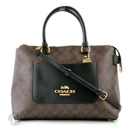 BRAND NEW COACH WOMEN'S (F31467 F31468) EMMA SATCHEL LEATHER CROSSBODY HAND BAG (Brown/Black) Slouchy Leather Bags