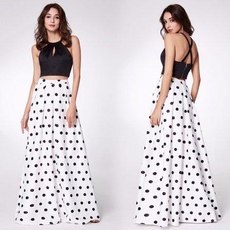 742f07b182474 ... High Waist Skirt Formal Evening Homeing. Ever Pretty Womens Y Halter Crop  Top Long Polka Dot