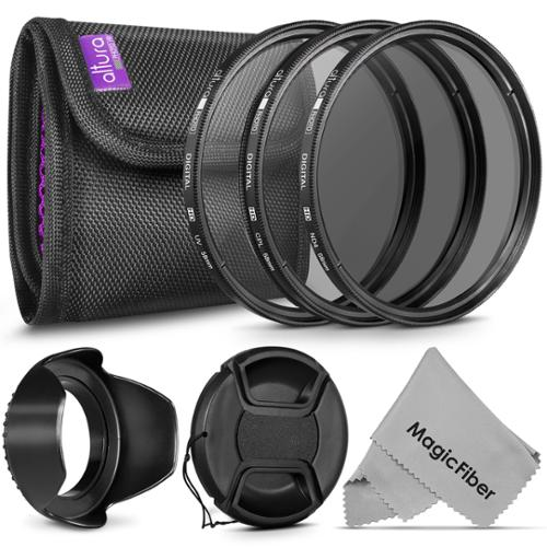 58MM Altura Photo Lens Filter Accessory Kit (UV, CPL, ND4) for CANON EOS Rebel T5i T4i T3i T3 T2i T1i DSLR Camera + Tulip Lens Hood + Center Pinch Lens Cap