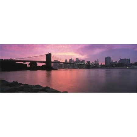 Sunset Over Lower Manhattan & Brooklyn Bridge Poster Print, 44 x 15 - Large - image 1 of 1