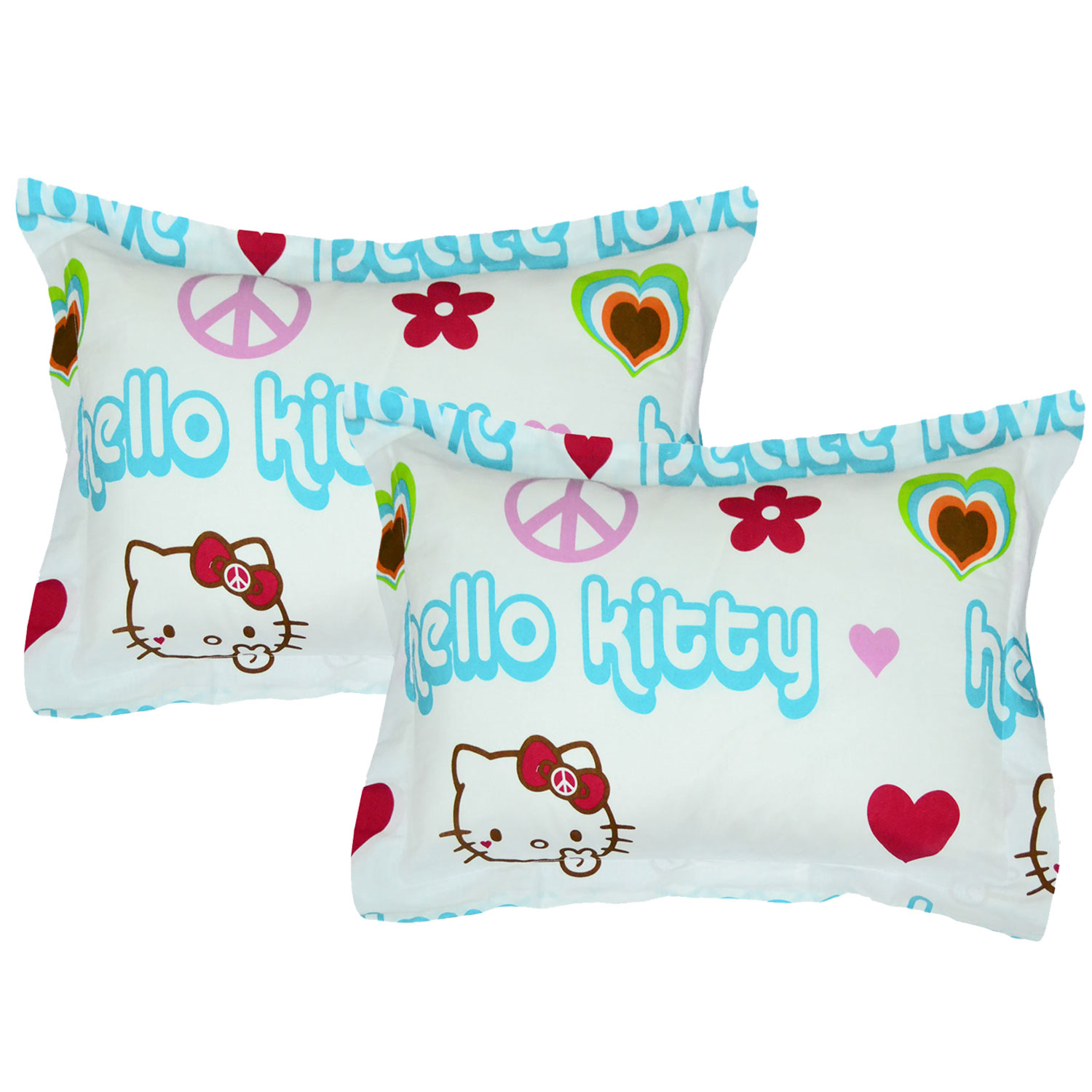 Store51 Llc 12606548 Hello Kitty Pillow Shams Set Peace Sign Bedding Accessories