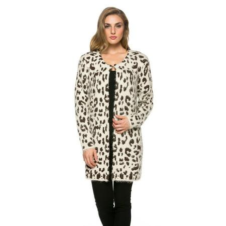 Women's Warm and Fuzzy Thick Cardigan in Animal Print Animal Print Crop Cardigan