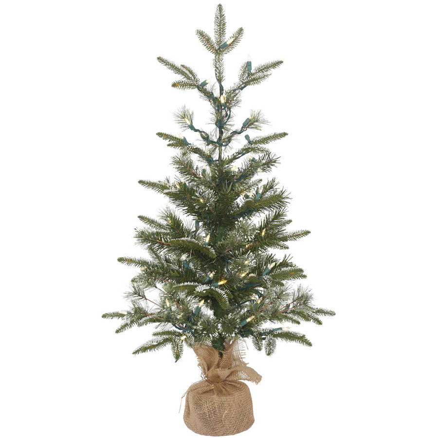 Vickerman 3' Frosted Pasco Mixed Pine Medium White and Green Table Tree with 50 Warm White LED Lights in Burlap Base