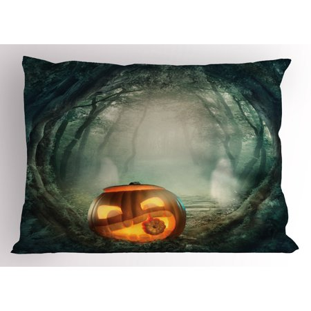 Halloween Pillow Sham Drawing of Scary Halloween Pumpkin Enchanted Forest Mystic Twilight Party Art, Decorative Standard Size Printed Pillowcase, 26 X 20 Inches, Orange Teal, by Ambesonne - Pier 26 Halloween Party