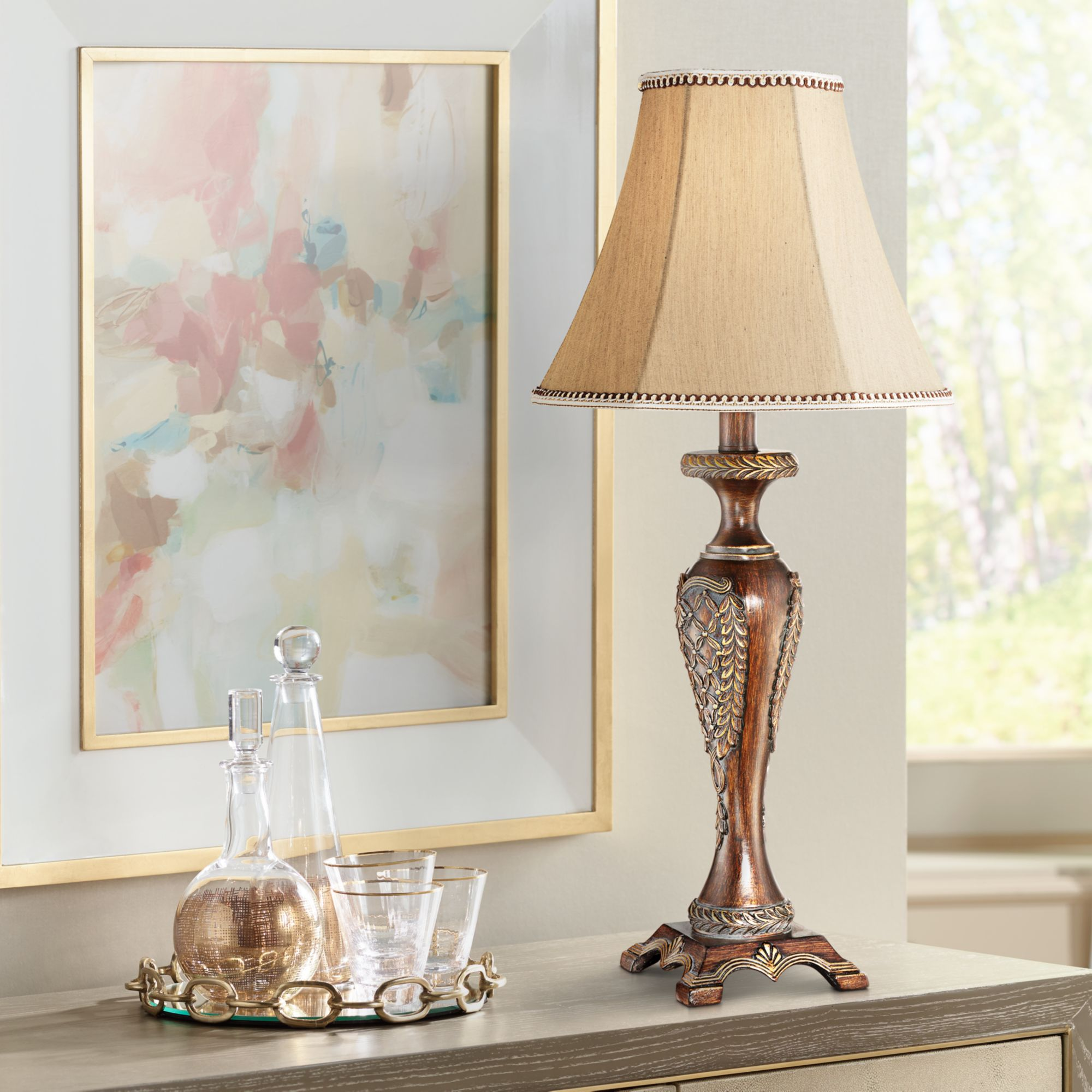 Regency Hill Traditional Accent Table Lamp Dark Bronze Candlestick Floral Detail Bell Shade for Living Room Family Bedroom Bedside