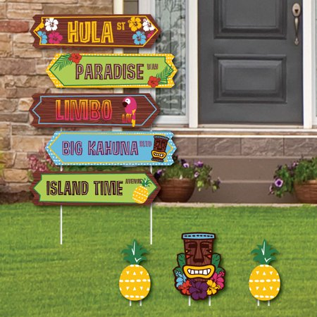Tiki Luau Street Sign Cutouts - Tropical Hawaiian Summer Party Yard Signs & Decorations - Set of - Luau Sign