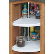"""Plastic Pie-Cut Lazy Susans Door Mount, Two Shelf Sets, Pie-Cut Shaped, Single Shelves Only, 24"""" Diameter, White..."""