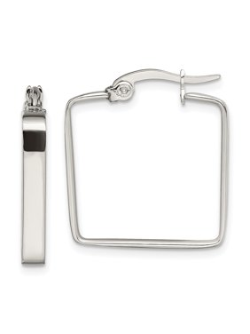 Stainless Steel 20mm Square Hoop Earrings