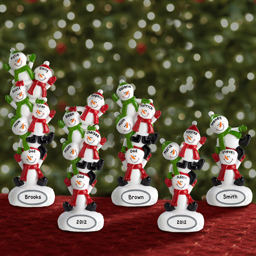 Personalized Family of Snowmen, Available with 2-6 Snowmen