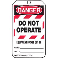 Accuform MLT409CTP Safety Tags Lockout DANGER DANGER DO NOT OPERATE EQUIPMENT LOCKED OUT BY PF-Cardstock 25 PK