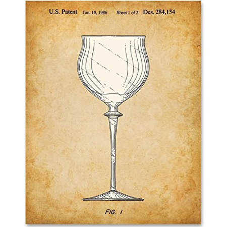 Wine Glass Patent - 11x14 Unframed Patent Print - Great Gift for Wine Lovers, Grottos, Wine Cellars and Home Bar Decor