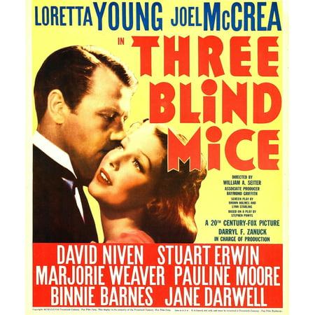 Three Blind Mice Charm - Three Blind Mice From Left Joel Mccrea Loretta Young On Window Card 1938 Movie Poster Masterprint