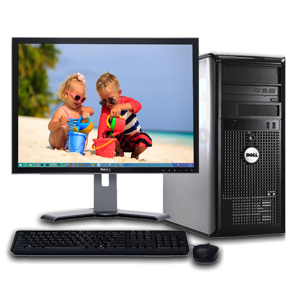 "Dell Optiplex Windows 10 Professional Desktop Computer PC Tower Intel 3.0GHz 8GB Ram 1TB Hard Drive DVD w/17"" LCD Monitor- Refurbished Computer"