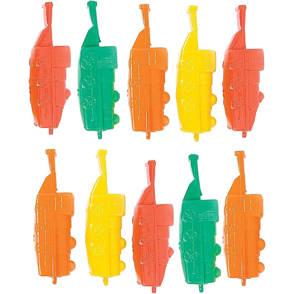 Plastic Train Whistles 4 Inches - Pack Of 10 - Assorted Colors Locomotive Train Shaped Whistles - For Kids Great Party Favors, Bag Stuffers, Fun, Toy, Gift, Prize, Piñata Fillers - By Kidsco
