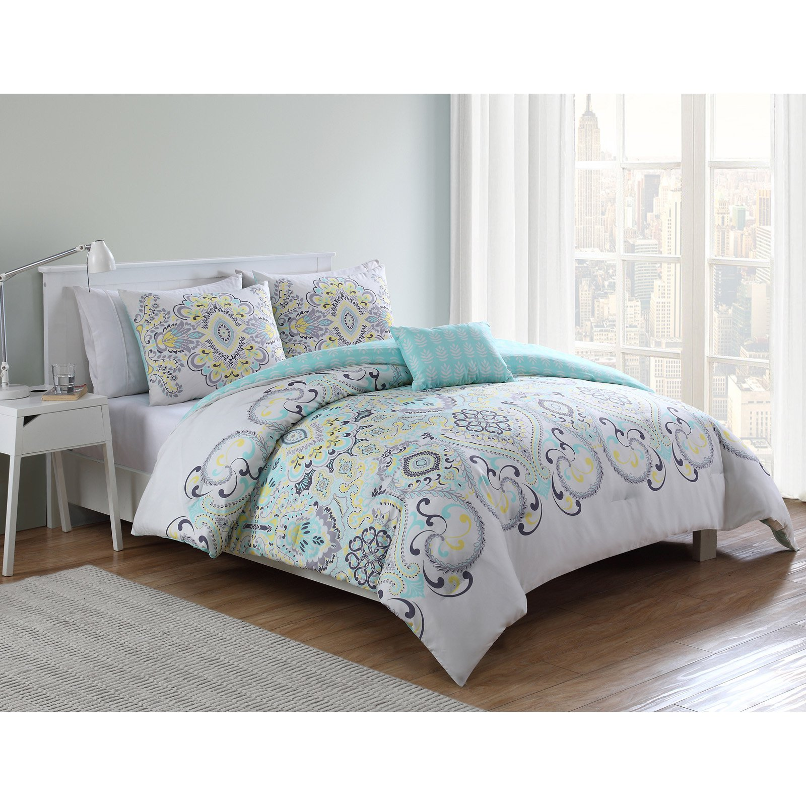 VCNY Home Yellow/Blue Amherst Printed 3/4 Piece Comforter Bedding Set, Shams and Decorative Pillow Included