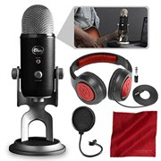 Blue Yeti Pro Studio All-In-One Pro Studio Vocal System w/Recording Software and Samson Closed-Back Headphones Accessory Bundle