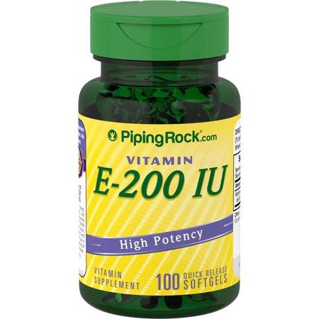 Piping Rock Vitamin E 200 IU High Potency 100 Quick Release Softgels Vitamin Supplement