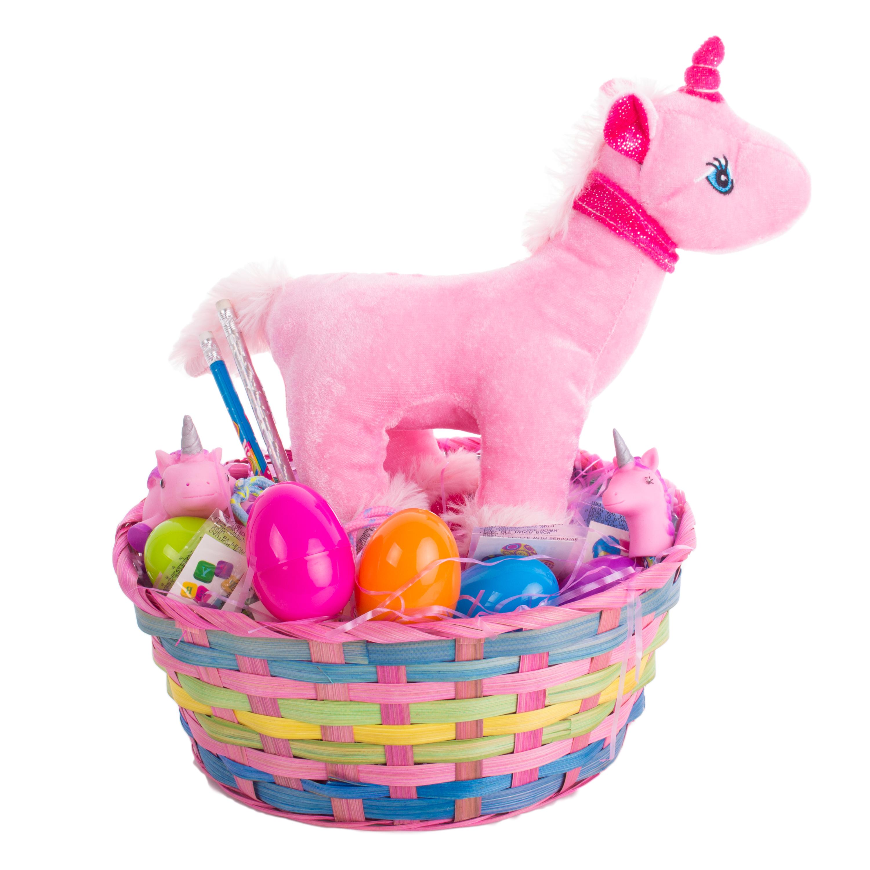 "Girl Stuffed Unicorn Square Bamboo Supply 27pc 10"" Easter Gift Basket"