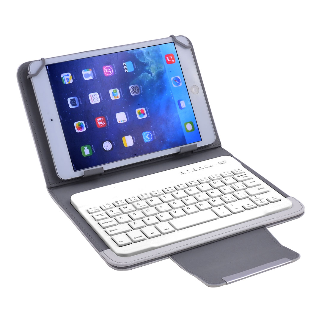 Unique Bargains bluetooth Keyboard Leather Cover White w Stand for 7 Inch 8 Inch Tablet