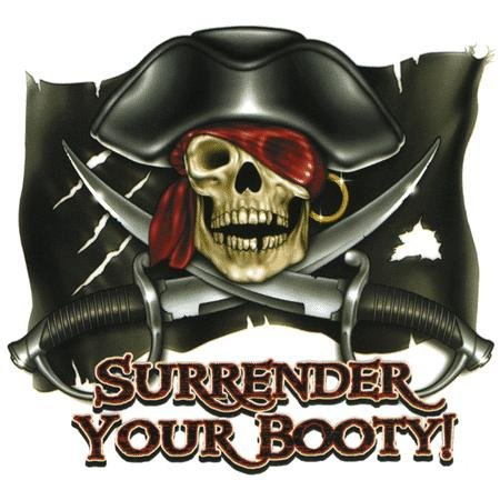 Michael Landefeld - Surrender Your Booty Pirate Flag - Sticker / Decal - UV In/Out Weather Protected, Extra Long - Pirate Merchandise