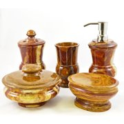 Nature Home Decor Mediterranean Multi Onyx 5-Piece Bathroom Accessory Set