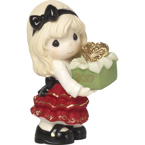 Precious Moments May the Gift of Love Be Yours This Season Dated 2017 Bisque Porcelain Figurine by Precious Moments