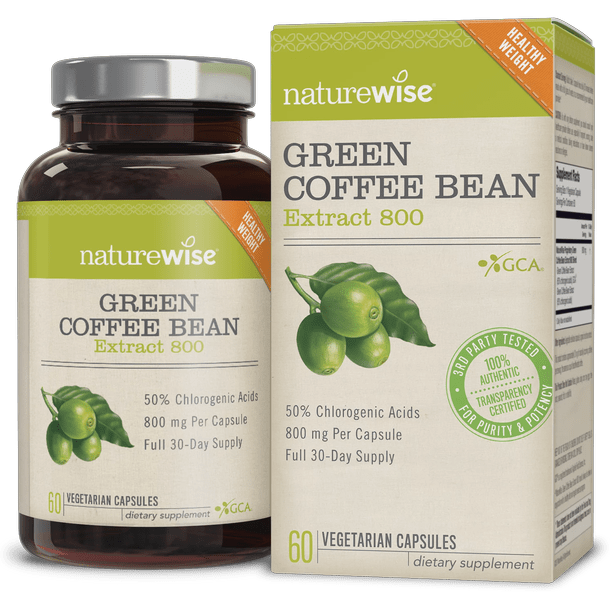 NatureWise Green Coffee Bean ExtraCt 800 with GCA Natural Weight Loss Supplement, 60Ct