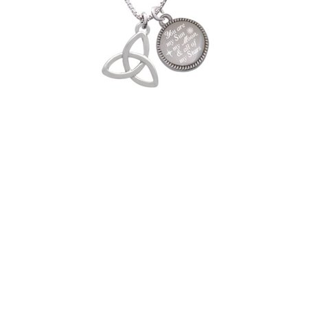 - Silvertone Large Trinity Knot You are my Sun, My Moon, and All of My Stars Engraved Necklace