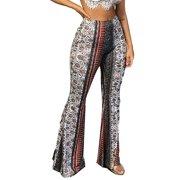 Multitrust Women's Harem Pants Wide Leg Gypsy Yoga Dance Boho Palazzo Bell Bottom Trousers
