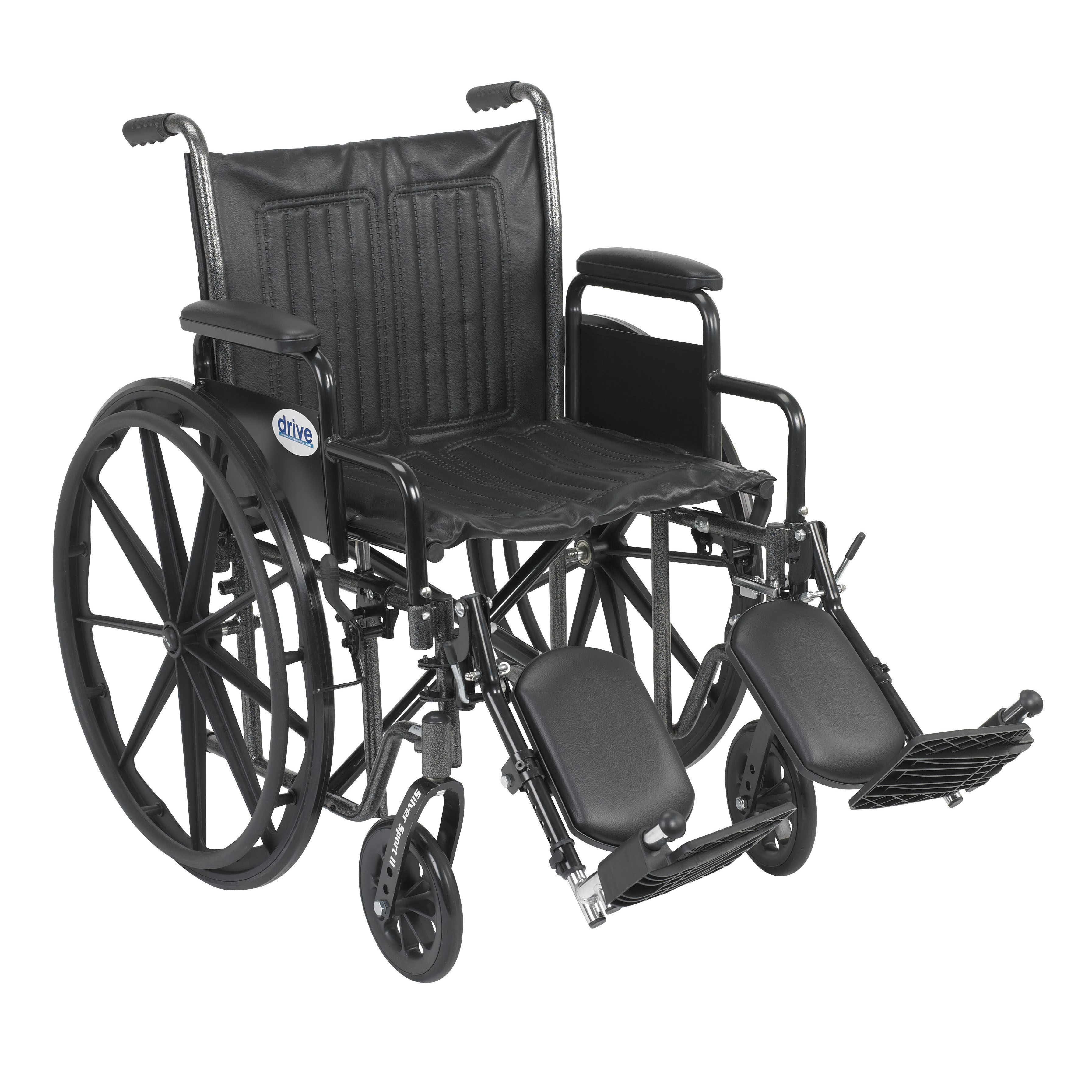 Drive Medical Silver Sport 2 Wheelchair, Detachable Desk Arms, Elevating Leg Rests