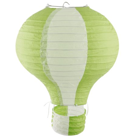 Paper Lightless Hanging Hot Air Balloon Lantern Light Green White 10 Inch Dia](Hot Air Balloon Lanterns)