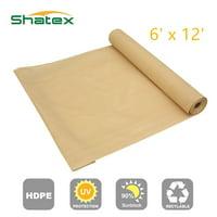 Shatex Shade Cloth Sun Shade Fabric for Pergola Cover Porch Vertical Screen 6'x12', Beige