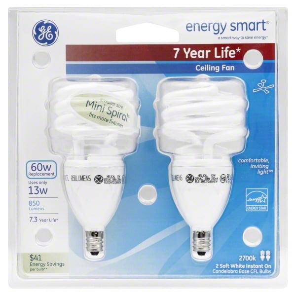 GE energy smart spiral CFL 13 watt T2 spiral 2-pack