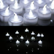 AGPtek Lot 100 Battery Operated LED Cool White Tea Light Candle Flickering Flashing