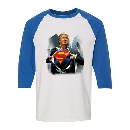 Donald Trump  Superman 2016 Politics Unisex Graphic Tees Raglan Sleeve](Womens Superman Shirt)