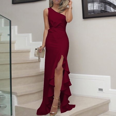 Womens One Shoulder Ruched Ruffle Formal Evening DressS