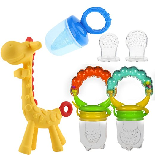 Baby Fruit Feeder Pacifier Pack - Baby Food Feeder Set Includes 2 Rattle Fruit Feeders, 2 Extra Pacifiers, Mesh Feeder, Giraffe Teething Toy ? Silicone Teething Toys for Infants Toddlers