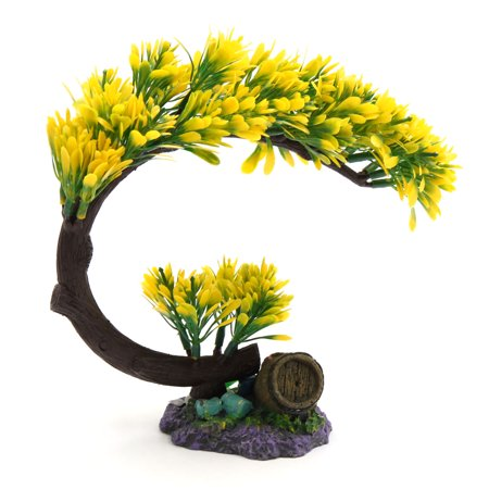 Yellow Plastic Tree Plant Decoration Aquarium Waterscape Ornament Home Decor