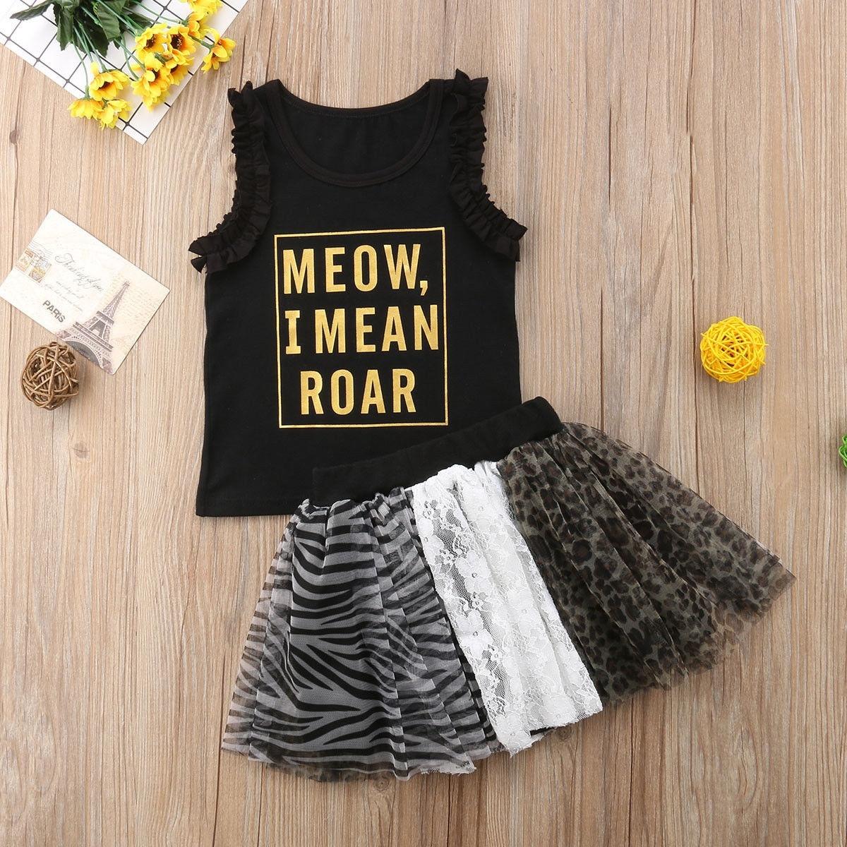 Fashion Toddler Kids Baby Girls Sleeveless Top T-shirt + Lace Tutu Skirt Dress Outfit Set Clothes