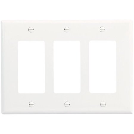Cooper 2063W White Mid-Size Three Gang Decorator Wall Plate Gang Claro Decorator Wall Plate