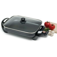 "Elite 15"" Electric Skillet with Glass Lid, Black"