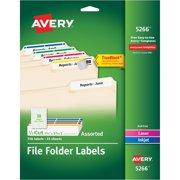 Avery Permanent File Folder Labels, TrueBlock, Inkjet/Laser, Assorted, 750/Pack