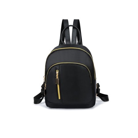Casual Women Girls Black Nylon Mini Backpack Travel School Backpack Shoulder Bags Black Waterproof Black Nylon Mini Backpack Travel School Backpack Shoulder Bags Black Waterproof -